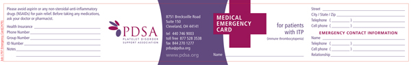 Medical Emergency Card for Patients with ITP